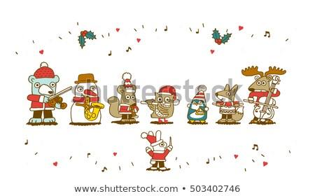 Bant üç mutlu oynama Noel müzik aletleri Stok fotoğraf © ElaK