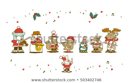 Band drie gelukkig spelen christmas muziekinstrumenten Stockfoto © ElaK