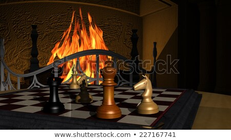 Chess Game illustration in front of a fireplace Stock photo © ankarb