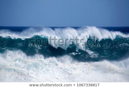 Stock fotó: Nehéz · hullámok · fehér · hullám · címer · vihar
