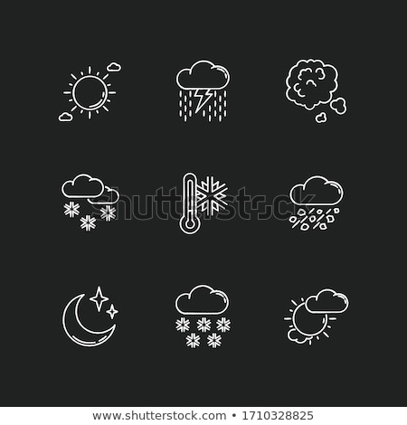thunderstorm weather symbols on blackboard stock photo © PixelsAway