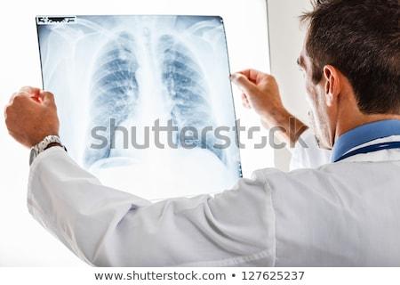 female doctor examining an x ray image stock photo © nobilior