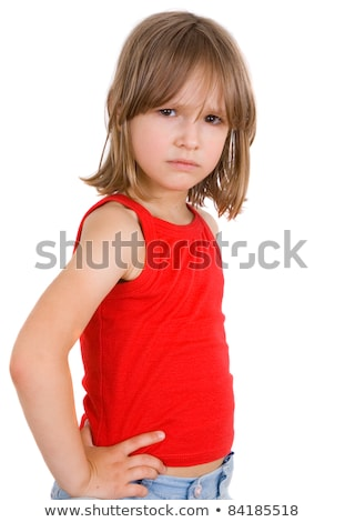 Cute blond girl with head in hands Stock photo © jeancliclac