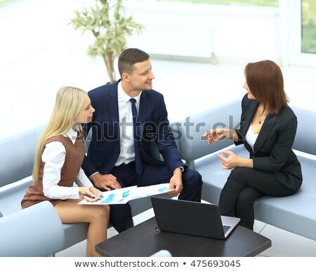 Kép üzleti partnerek megbeszél iratok ötletek megbeszélés Stock fotó © HASLOO