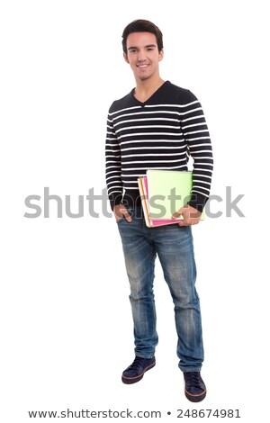 csinos · diák · tart · tankönyvek · izolált · fehér - stock fotó © elnur