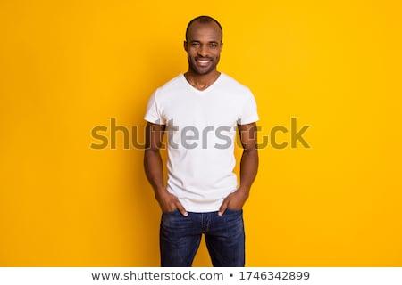 Férfi modell visel trendi ruházat jóképű égbolt Stock fotó © konradbak