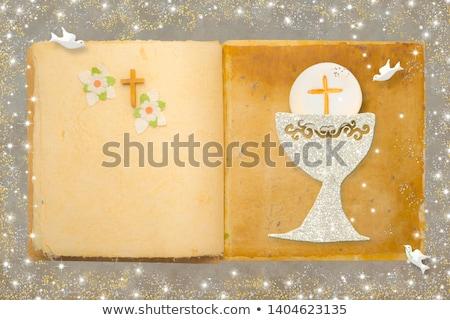 prima · comunione · conferma · bambino · lettura · bible · preghiera - foto d'archivio © marimorena
