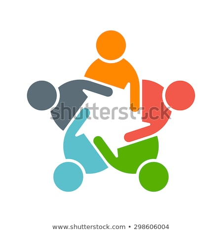 Teamwork Social Network, Group of 5 people business relationship and collaboration. Stock photo © joseph_arce