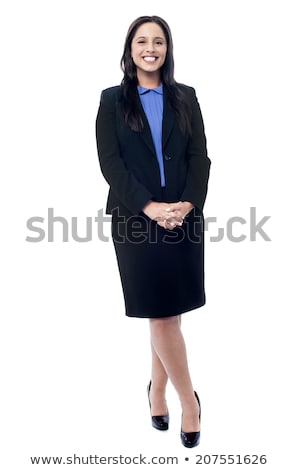 Beautiful Businesswoman Standing With Hands Clasped Stock photo © AndreyPopov
