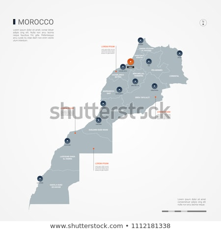 orange button with the image maps of Morocco Stock photo © mayboro