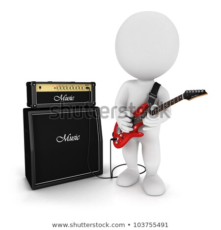 3d White People Playing Electric Guitar ストックフォト © 3dmask