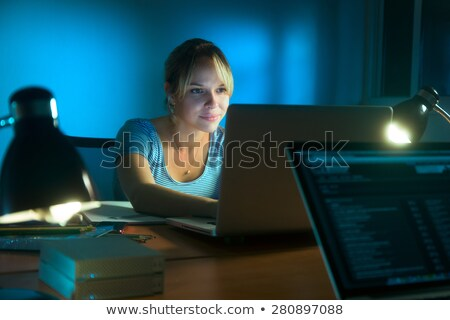Woman Writing On Social Network With PC Late At Night Stock photo © diego_cervo