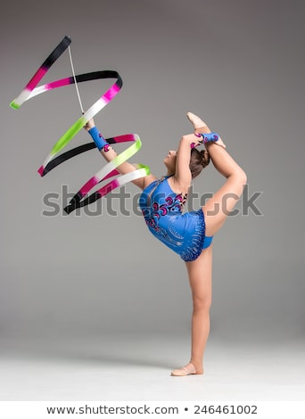 Stock photo: teenager doing gymnastics dance with ribbon