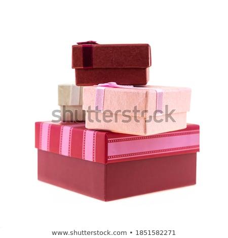 alegre · mujer · cajas · regalos · blanco - foto stock © elnur
