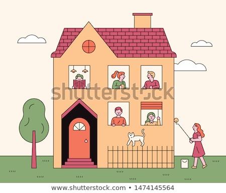 家族 猫 屋根 愛 猫 カップル ストックフォト © adrenalina