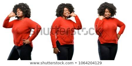 Kobieta połączenia podpisania uśmiechnięta kobieta uśmiechnięty Zdjęcia stock © imagedb