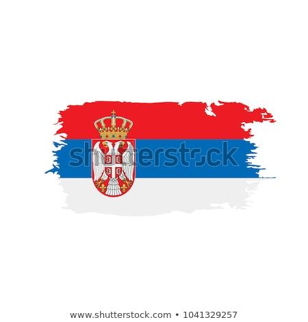 Bandeira Sérvia pintado escove sólido abstrato Foto stock © tang90246