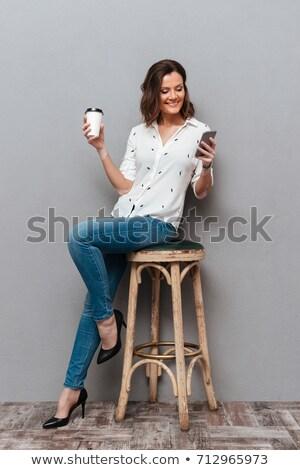 portrait · jeune · fille · tasse · de · café - photo stock © stryjek