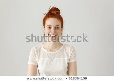 Güzel kadın gri bluz yalıtılmış beyaz kadın Stok fotoğraf © Elnur