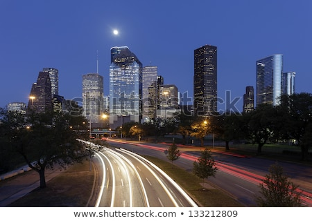 Blue night city lights and buildings in Houston Stock photo © lunamarina