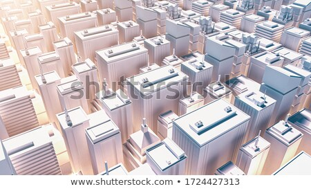 Illustration with three construction views in sunset  stock photo © giko