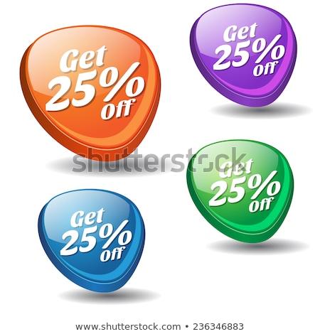 25 százalék kék vektor ikon gomb Stock fotó © rizwanali3d