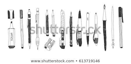 Doodle pen icon Blauw Stockfoto © pakete