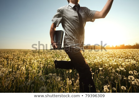 Businessman running on the meadow with bag Stock photo © Paha_L
