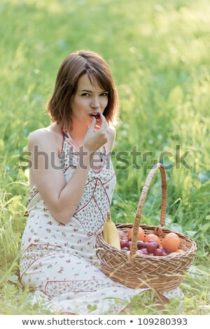 basket with sweet cherries on glade Stock photo © Paha_L