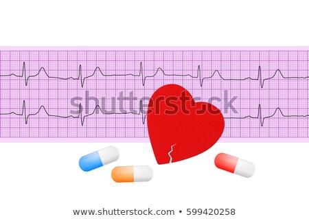elektrokardiogram · szív · elemzés · ekg · grafikon · papír - stock fotó © tetkoren