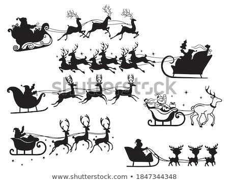 Karácsony rénszarvas ikon infografika szimbólum árnyék Stock fotó © pakete