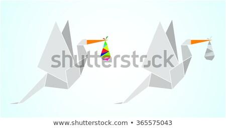 оригами аистов один серый цветами вектора Сток-фото © cienpies