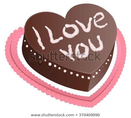 Chocolate cake shape of heart. I love you. Chocolate Sponge Cake Stock photo © orensila
