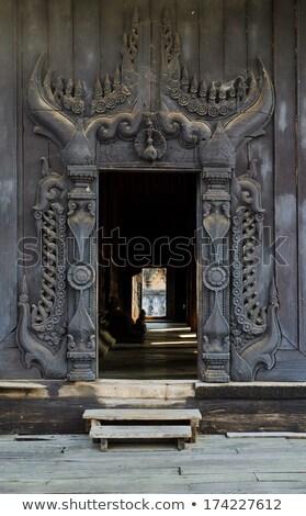 Mosteiro birmânia madeira aldeia árvore construção Foto stock © smithore
