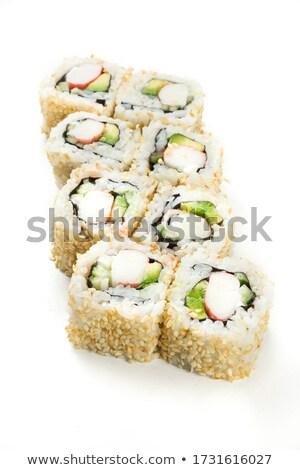 Maki sushi arrangement gerookte zalm paling Stockfoto © zhekos