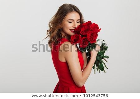 meglepődött · nő · tart · virágcsokor · fiatal · nő · rózsaszín - stock fotó © deandrobot
