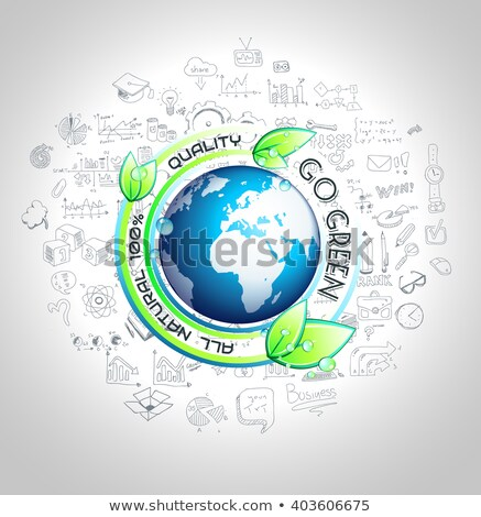 go green conceptual background with hand drawn infographic stock photo © davidarts