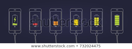 fully charged battery line icon stock photo © rastudio