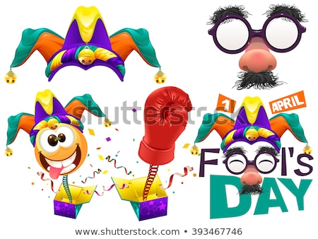 Funny glasses nose. April Fools Day lettering text for greeting card. 1 April Fools Day Stock photo © orensila