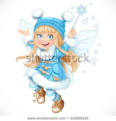 mały · zimą · princess · ilustracja · cute · dziewczyna - zdjęcia stock © carodi