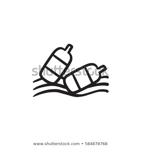 Bottles floating in water sketch icon. Stock photo © RAStudio