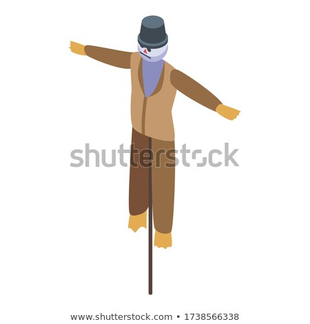 frame design with scarecrow in field stock photo © bluering