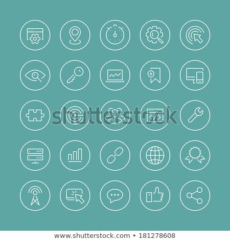 Sottile line icone utente tecnologia musica Foto d'archivio © ildogesto
