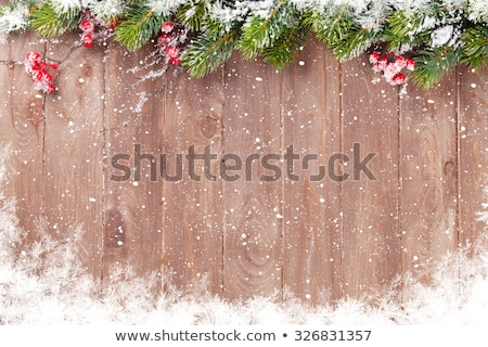 christmas · houten · sneeuw · decoratie · top - stockfoto © karandaev