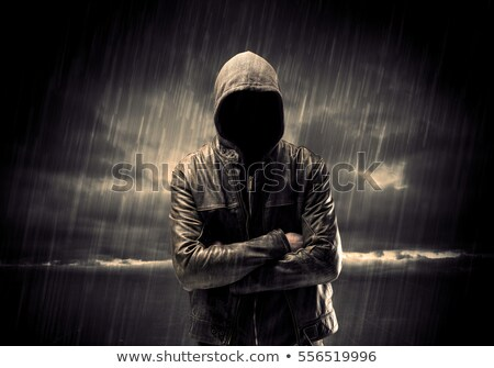 Unrecognizable faceless spooky hooded hooligan Stock photo © stevanovicigor