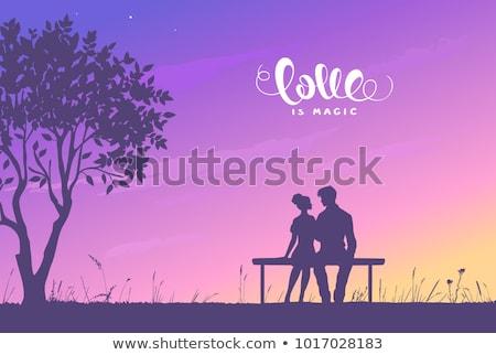 zoenen · silhouet · illustratie · zonsondergang · bruiloft · liefde - stockfoto © koca777