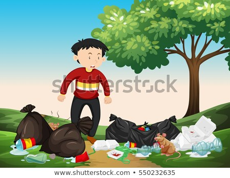 Man looking at pile of trash in the park Stock photo © bluering
