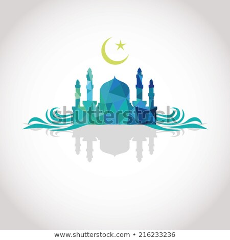colorful mosaic design   mosque and crescent moon wave shadow stock photo © kkunz2010