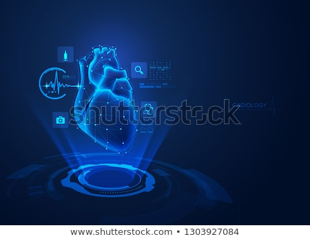 Stock photo: Human artery and heart abstract blue background