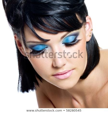 Foto stock: Belo · modelo · brilhante · make-up · fechado · um